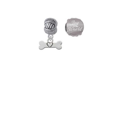 Dog Bone with Heart Joy to the World Charm Beads (Set of 2)