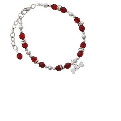 Dog Bone with Heart Maroon Beaded Bracelet
