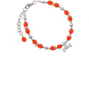 Dog Bone with Heart Orange Beaded Bracelet