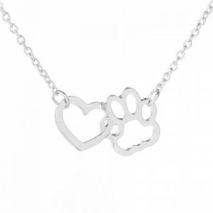 Dog Claw Heart Type Alloy Short Pendant Necklace