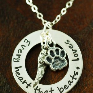 Every Heart that Beats, Loves - Dog Lover Hand Stamped Necklace