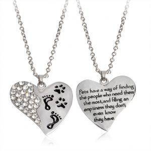 Fashion Heart Shape Pendant Footprint Dog Paw Pet Necklace Neckchain Jewelry