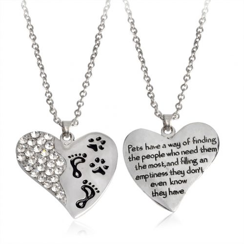 Fashion Heart Shape Pendant Footprint Dog Paw Pet Necklace Neckchain Jewelry