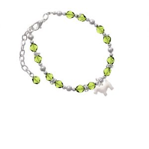 Flat Scottie Dog Lime Green Beaded Bracelet