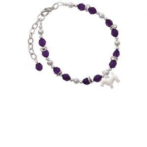 Flat Scottie Dog Purple Beaded Bracelet