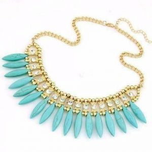 Funky Glam Bright Boho Bead and Rhinestone Collar Necklace - Turquoise