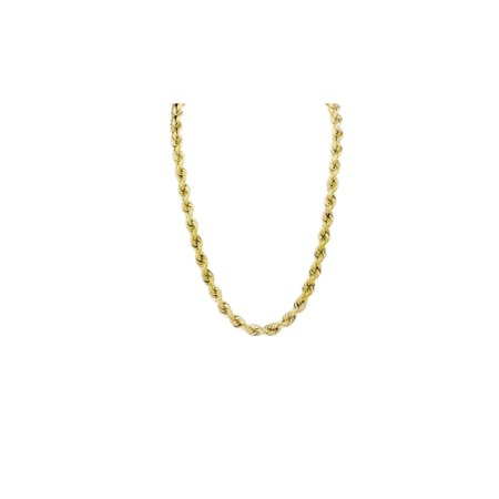 Hollow Mens Rope Chain 10K Yellow Gold 30 inches -4.5mm