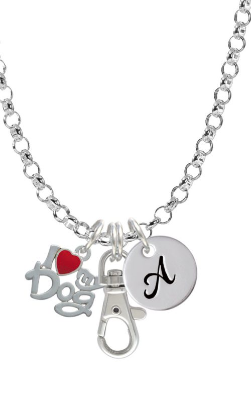 I Heart My Dog Initial Badge Clip Necklace