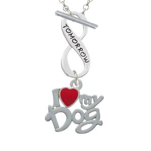 I Heart My Dog Today Tomorrow Infinity Toggle Necklace