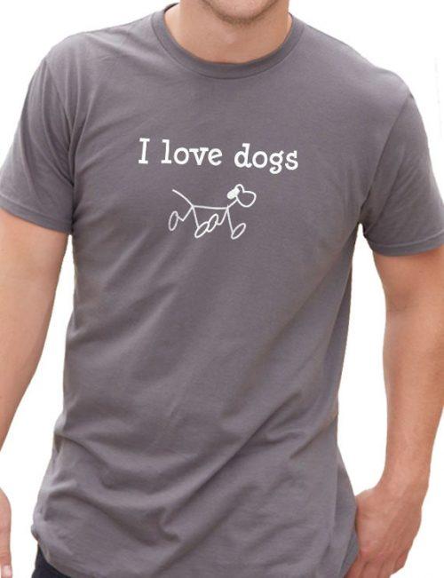 I Love Dogs Men's T-Shirt - Black, S