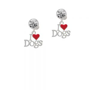 I love Dogs with Red Heart Crystal Clip On Earrings