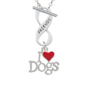 I love Dogs with Red Heart Friends Infinity Toggle Necklace