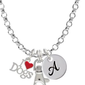 I love Dogs with Red Heart Initial Badge Clip Necklace