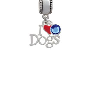 I love Dogs with Red Heart Silver Plated Charm Bead with Crystal Drop, Select Your Color