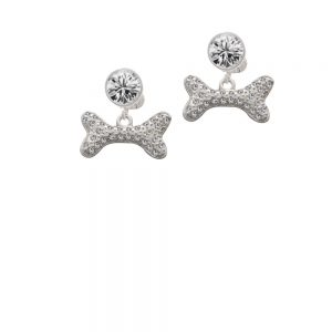 Large Clear Crystal Dog Bone Crystal Clip On Earrings