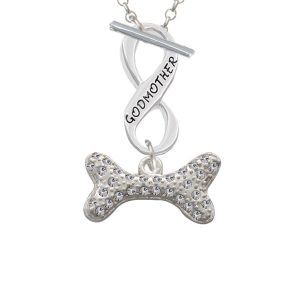 Large Clear Crystal Dog Bone Godmother Infinity Toggle Necklace