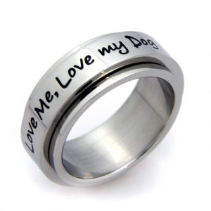 """Love My Dog"" Spinner Stainless Steel Ring - 6"