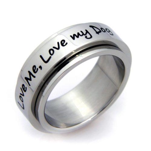 """Love My Dog"" Spinner Stainless Steel Ring - 6"