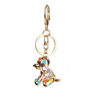 Lovely Dog Shape Keychain HandBag Pendant Keyrings Keychains For Car Crystal Rhinestone Key Chains Holder Women Accessories