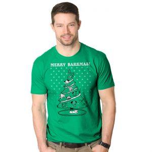Merry Barkmas Dog Christmas Tree T-Shirt - Mens Small