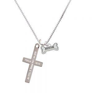 Mini ''Rescue'' Dog Bone - Be Still and Know - Cross Necklace