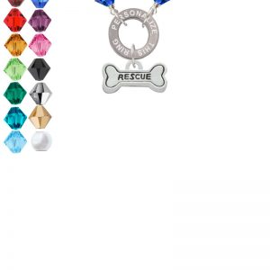 Mini ''Rescue'' Dog Bone Custom Engraved Name Ring Crystal Necklace