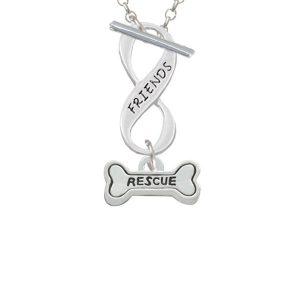 Mini ''Rescue'' Dog Bone Friends Infinity Toggle Necklace