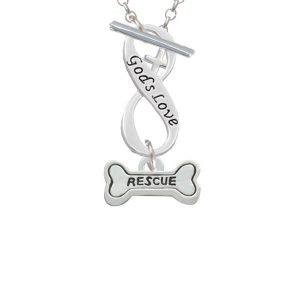 Mini ''Rescue'' Dog Bone God's Love Infinity Toggle Necklace