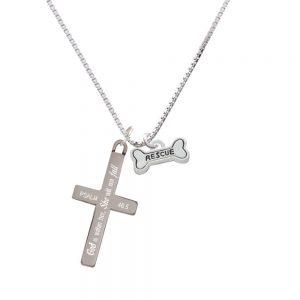Mini ''Rescue'' Dog Bone - She will not Fall - Cross Necklace