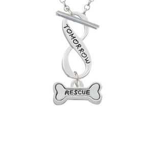Mini ''Rescue'' Dog Bone Today Tomorrow Infinity Toggle Necklace