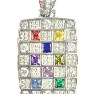 Nana Dog Tag Mother's Pendant 1 to 8 Stones 10k or 14k White, Yellow, Rose Gold