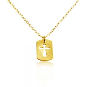 Open Cross Dog Tag Christian Religious Symbol of Jesus Charm Pendant Necklace #14K Gold Plated over 925 Sterling Silver #Azaggi N0695G - 12'' child