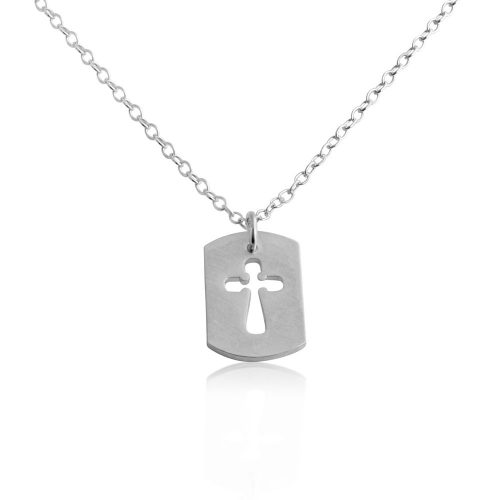 Open Cross Dog Tag Christian Religious Symbol of the Crusifixion of Jesus Charm Pendant Necklace #925 Sterling Silver #Azaggi N0695S - 12'' child