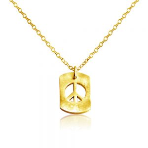 Peace Sign Hippie Symbol Dog Tag Charm Pendant Necklace #14K Gold Plated over 925 Sterling Silver #Azaggi N0706G - 12'' child