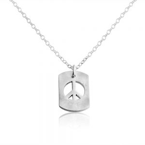 Peace Sign Hippie Symbol Dog Tag Charm Pendant Necklace #925 Sterling Silver #Azaggi N0706S - 12'' child