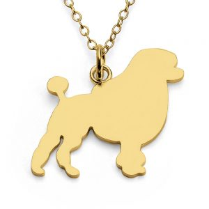 Poodle Dog Silhouette Charm Pendant Necklace #14K Gold Plated over 925 Sterling Silver #Azaggi N0299G - 12'' child