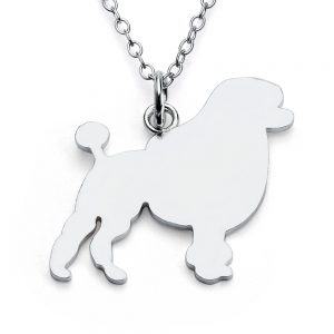 Poodle Dog Silhouette Charm Pendant Necklace #925 Sterling Silver #Azaggi N0299S - 12'' child