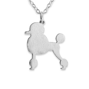Poodle Silhouette Charm Pendant Necklace #925 Sterling Silver #Azaggi N0366S - 12'' child