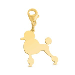 Poodle Silhouette Charm Pendant with a Lobster Claw Clasp #14K Gold Plated over 925 Sterling Silver #Azaggi P0366G_pc