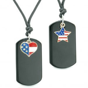Proud American Flag Super Heart and Star Dog Tags Love Couples BFF Set Black Agate Amulet Cord Necklaces