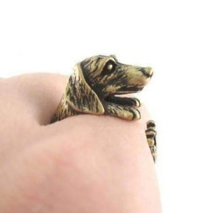 Puppy Love Dachshund Dog Adjustable Animal Wrap Ring - Bronze