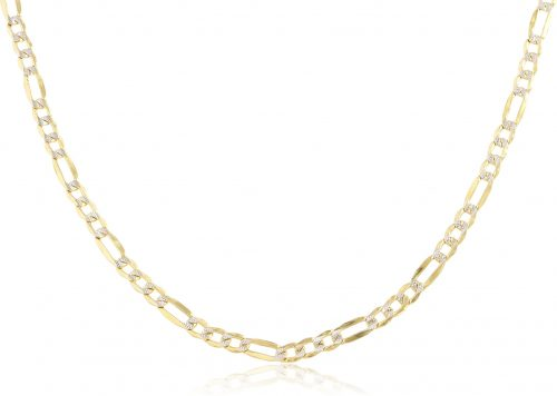"Real 10k Yellow Gold 4mm Pave Figaro Chain - 16"" 18"" 20"" 22"" 24"" 26"" Available"