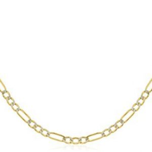 Real 14k Yellow Gold 2.3mm Pave Figaro Chain (Available in 7-30 inches)