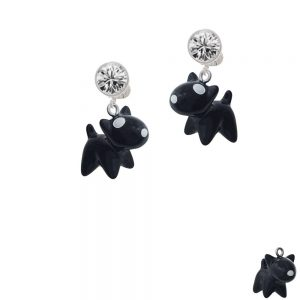 Resin Black Bull Terrier Dog Crystal Clip On Earrings