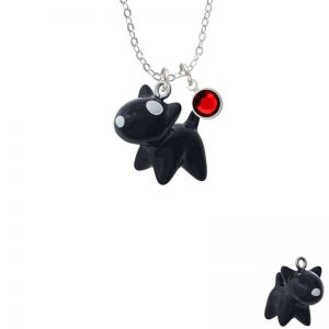 Resin Black Bull Terrier Dog Necklace with Red Crystal Drop