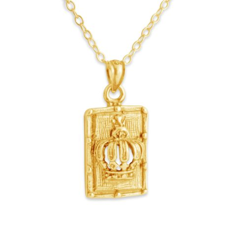 Royal Crown Dog Tag Monarchy Symbol King & Queen Jewelry Charm Pendant Necklace #14K Gold Plated over 925 Sterling Silver #Azaggi N0138G - 12'' child