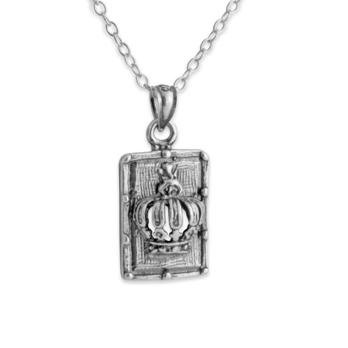 Royal Crown Dog Tag Monarchy Symbol King & Queen Jewelry Headdress Charm Pendant Necklace #925 Sterling Silver #Azaggi N0138S - 12'' child
