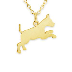 Running Boxer Dog Silhouette Pendant Necklace #14K Gold Plated over 925 Sterling Silver #Azaggi N0367G - 12'' child