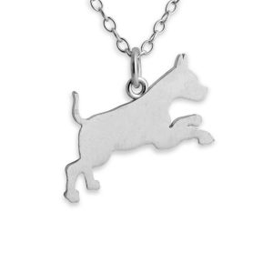Running Boxer Dog Silhouette Pet Animal Charm Pendant Necklace #925 Sterling Silver #Azaggi N0367S - 12'' child