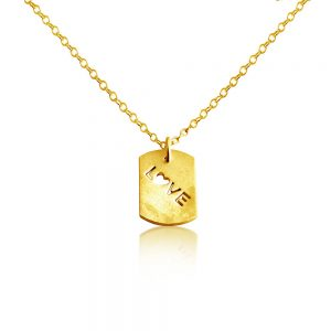 Script Word Love with Heart Romantic Dog Tag Charm Pendant Necklace #14K Gold Plated over 925 Sterling Silver #Azaggi N0699G - 12'' child